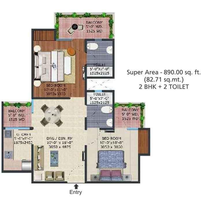 Supertech Eco Village II, GreaterNoida - Floor Plan
