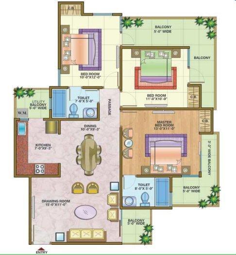 Nandini Metro Suites, Ghaziabad - Floor Plan