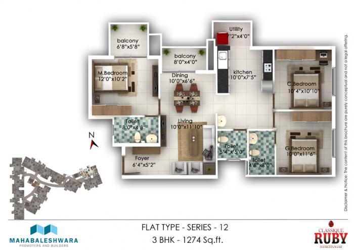 Mahabaleshwara Classique Ruby, Mangalore - Floor Plan