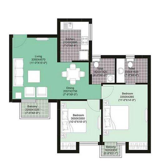 Unitech Uniworld Gardens II, Gurgaon - Floor Plan