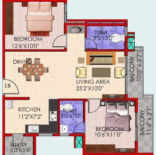 Vakil Whispering Woods Residences II, Bangalore - Floor Plan