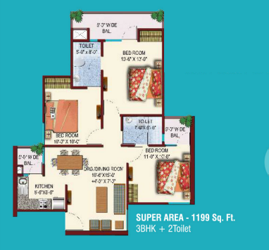 Ascent Savy Ville De Apartment, Ghaziabad - Floor Plan