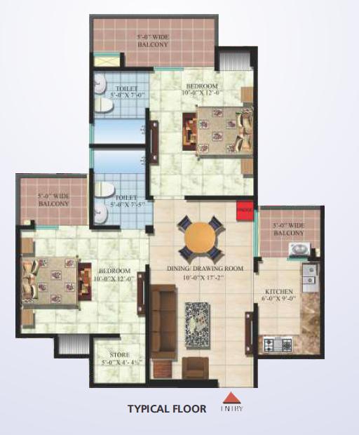 Techman Moti Residency Phase II, Ghaziabad - Floor Plan