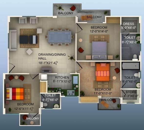 Indian Infra Rohit Residency, Lucknow - Floor Plan