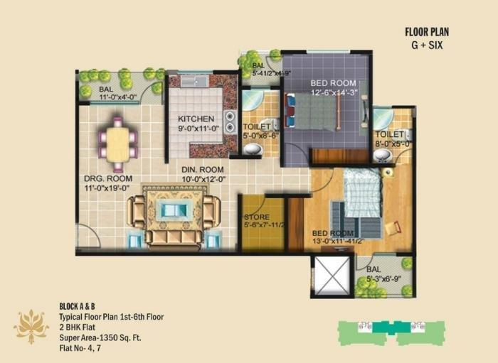 Crystal Link Apartment, Lucknow - Floor Plan