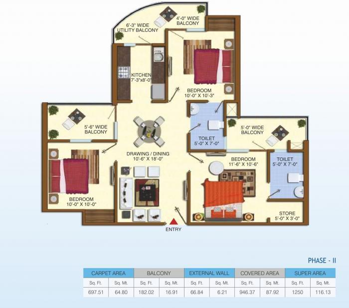 Uninav Heights Phase II, Ghaziabad - Floor Plan