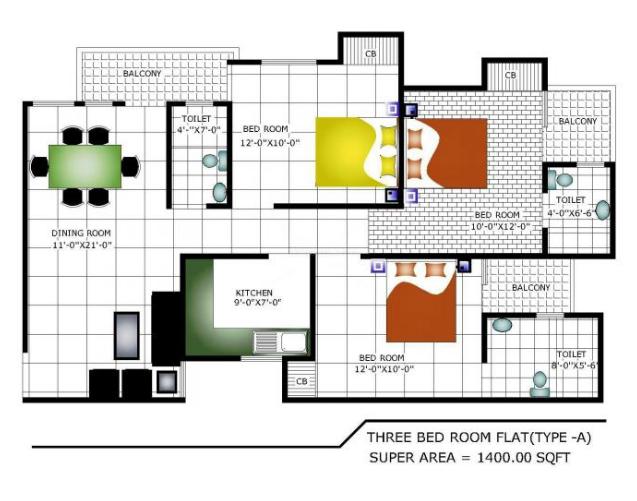 Subhsantosh Nirman Apartment, Noida - Floor Plan