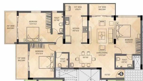 Divakar Vandana Callisto, Mangalore - Floor Plan