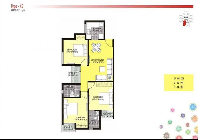 Unitech Unihomes 2 G&H Towers Phase-II, Noida - Floor Plan
