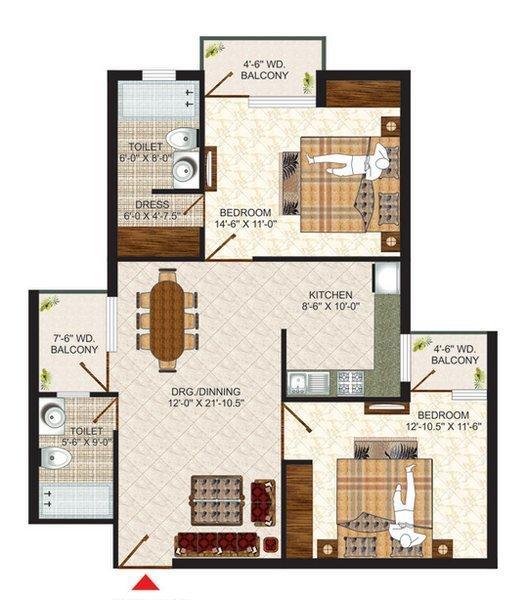 Pushpanjali Seasons, Agra - Floor Plan