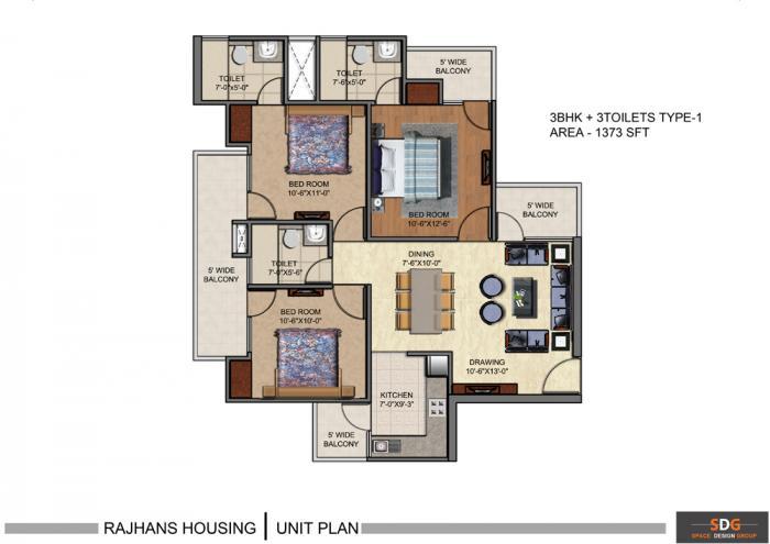 Rajhans Residency, GreaterNoida - Floor Plan