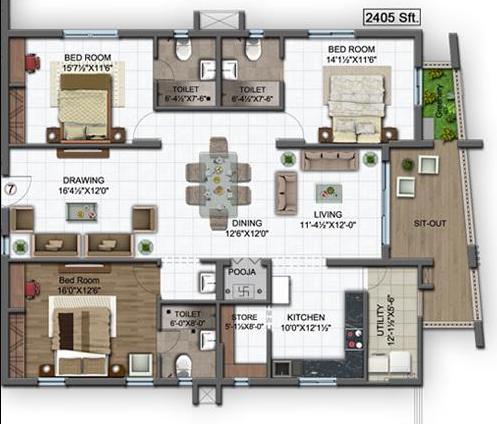 S&S Green Grace, Hyderabad - Floor Plan