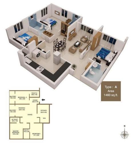 ABAD West Wood, Kochi - Floor Plan
