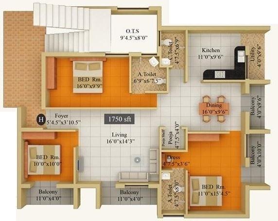 Lumbodhara Orchid Eleganz, Coimbatore - Floor Plan