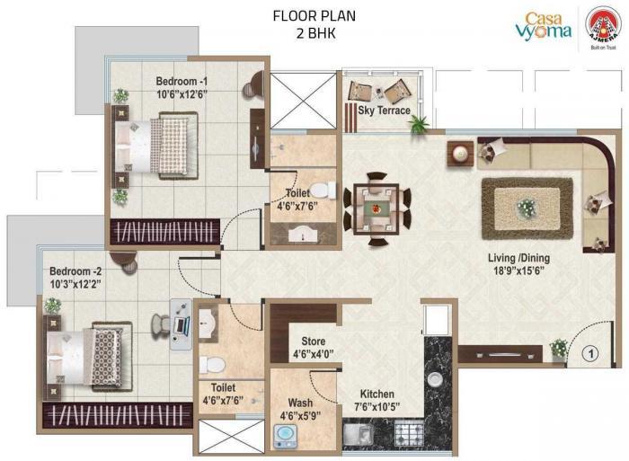 Ajmera Casa Vyoma, Ahmedabad - Floor Plan