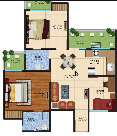 Ajnara Le Garden Phase II, GreaterNoida - Floor Plan