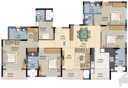 Prestige Sunnyside Oak, Bangalore - Floor Plan