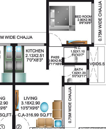 Metro Gomes Apartment, Mumbai - Floor Plan