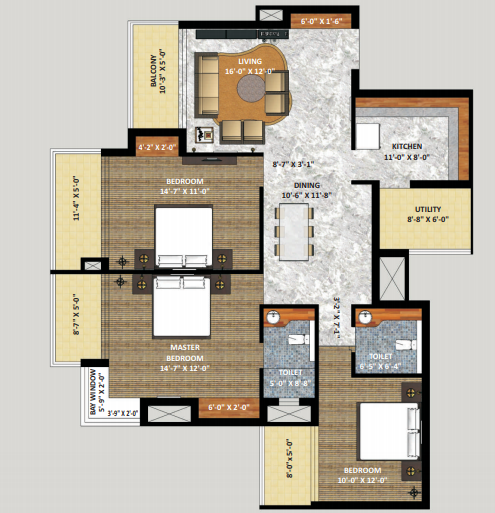 Shri Radha Sky Gardens, GreaterNoida - Floor Plan