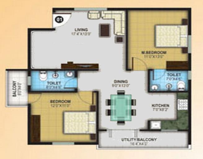 Saranya Sunshine, Bangalore - Floor Plan